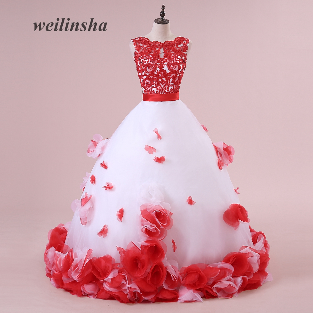 weilinsha Tulle Sexy Sleeveless Wedding Dresses White with Red ...