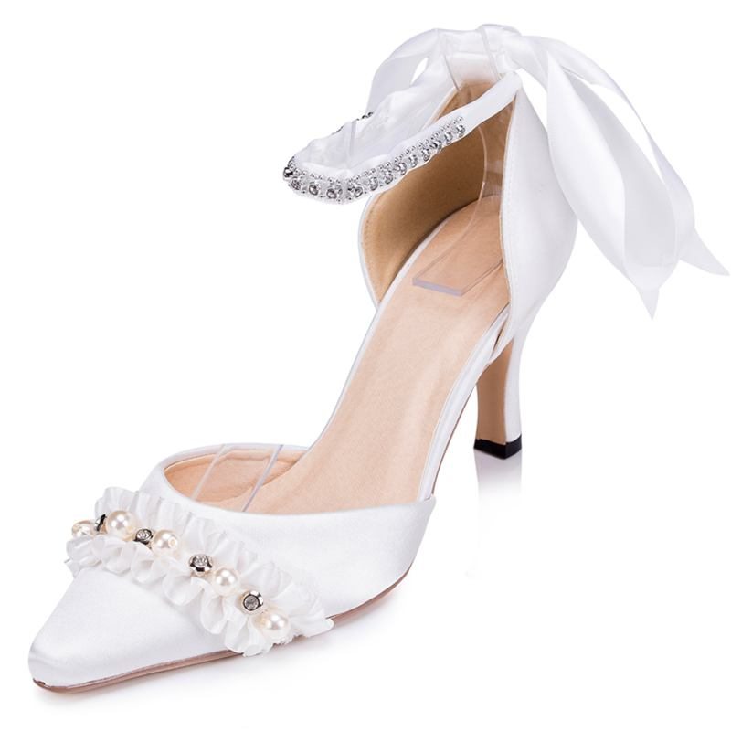 Aliexpress Buy Handmade Lace Women Wedding Shoes Pointed Toes Bridal Shoes Spring Autumn