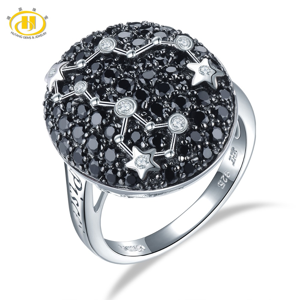 Hutang Pisces Rings Natural Gemstone Black Spinel 925 Silver Ring Fine Jewelry Birthday Gift Women 19th