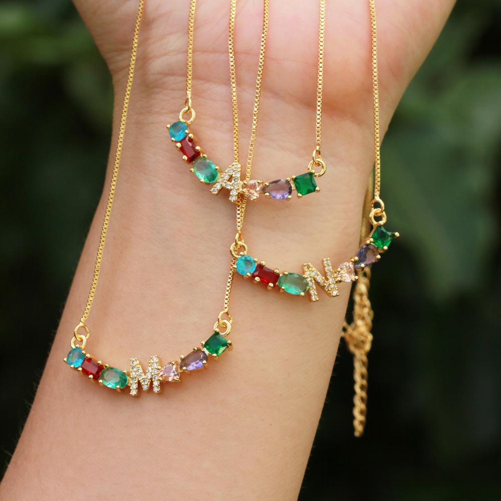 NEW Design 1Pcs Gold Chain Necklace Rainbow CZ Cubic Zirconia Initials A To Z Letter Pendant Necklaces For Women Jewelry in Pendants from Jewelry Accessories