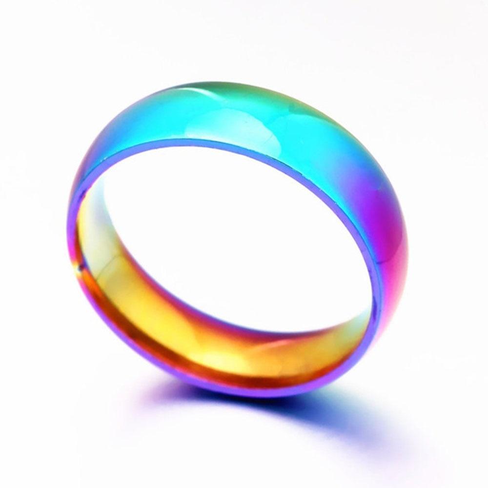 Men Women Rainbow Colorful Ring Titanium Steel Wedding Band Ring