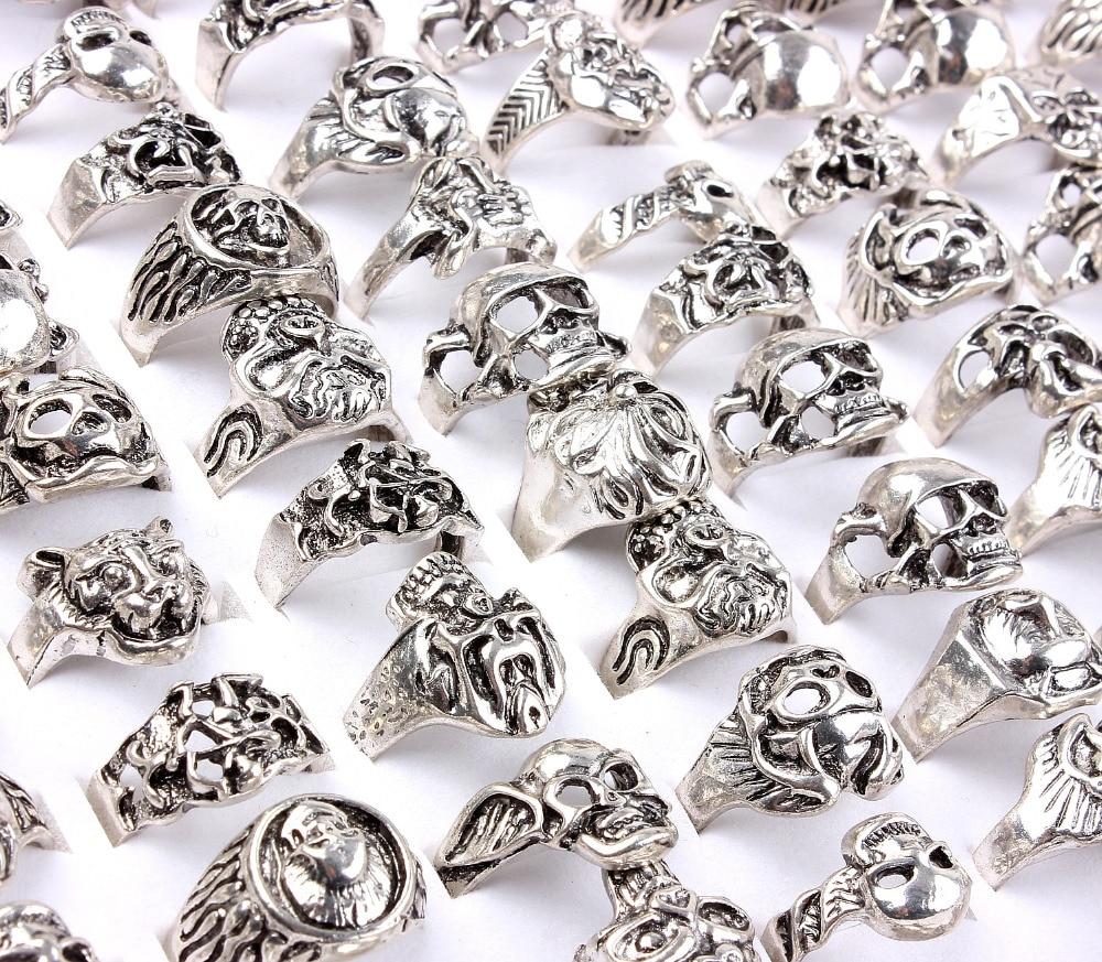 Wholesale Bulk Lots Men Job 20Pcs Skull Heads Alloy Biker Silver Plated Finger Rings Band Wedding Engagement Mens Jewelry FREE ...