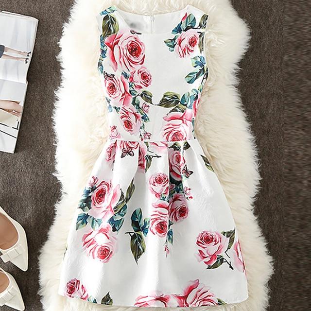 Vestido de verano jacquard estampado vintage sin mangas 4
