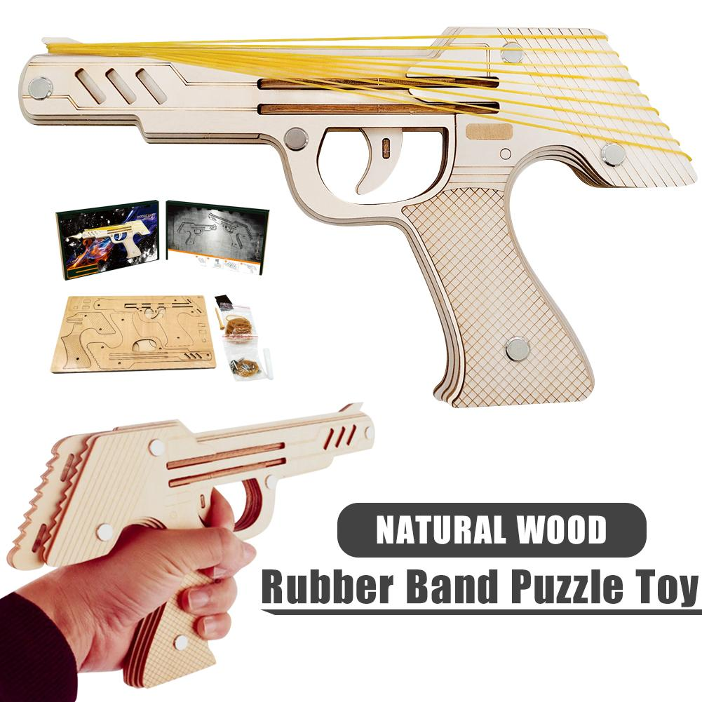 Jiu Lianfa Rubber Band Gun Toy 3D Wooden Puzzle Mechanical Model Kit DIY Construction Machinery Rubber Band Pistol Toy