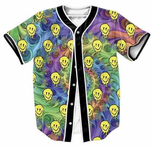47e14568251d Men Fashion Clothes Casual 3D Printed Overshirt LSD Emoji Jersey Yellow  skull Hip-Hop Outfit Style Crewneck Shirt Tops