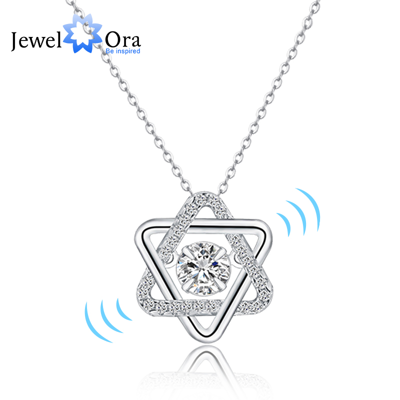 Dancing Stone 925 Sterling Silver Cubic Zirconia Necklaces &s