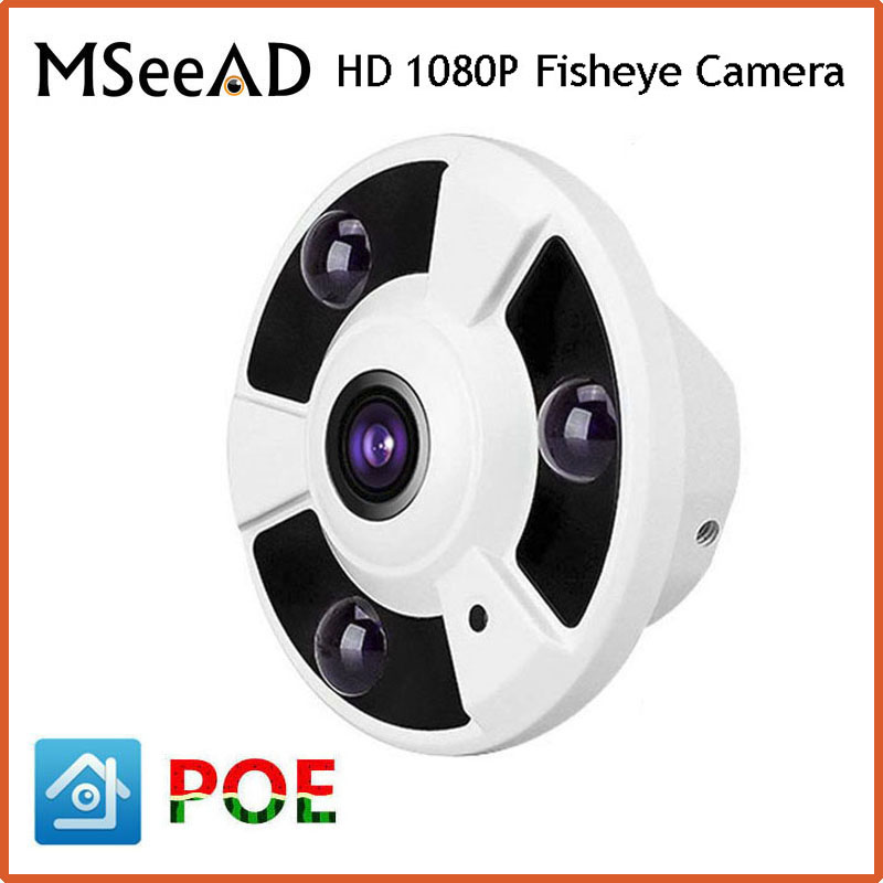 """imágenes para HD 1080 P Cámara IP POE Fisheye Lente 1/2. 8 """"2.0 Megapíxeles Panorámica Vista Panorámica de 360 Grados Cámara de 2MP IP IR de La Visión Nocturna Onvif"""