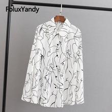 Fashion Striped Blouse Plus Size XXXL 4XL High Street Loose Print Long Sleeve Blouse Shirt Women Blusa KKFY3250