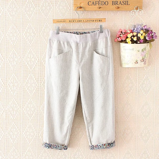 Summer Women Plus Size Elastic Waist Casual Short Capris Trousers Pocekts Seven Pants Casual Loose Pants YY005
