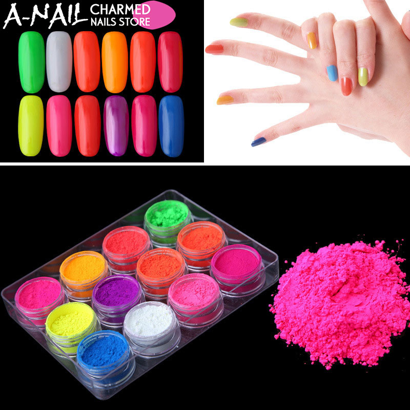 12jars/set Neon Pigment Fluorescence Effect Nail Glitter Fluorescent color Powder Nail Polish Dust UV Gel Nail Decorations 12jars set 12 colors nail art glitter laser crushed shell dust bits for nail polish uv acrylic 3d nail manicure decorations