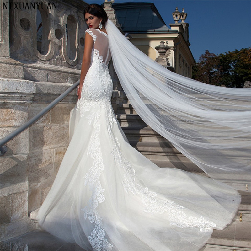 White 3 M Long Trailing 1 Layer Cathedral Wedding Veils