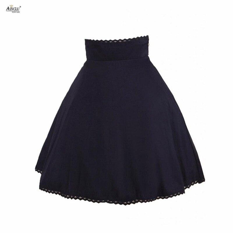 7b7fa4600 A-line Lolita estilo falda Ainclu vestido de fiesta para mujer negro  plisado arco rodilla Falda ...