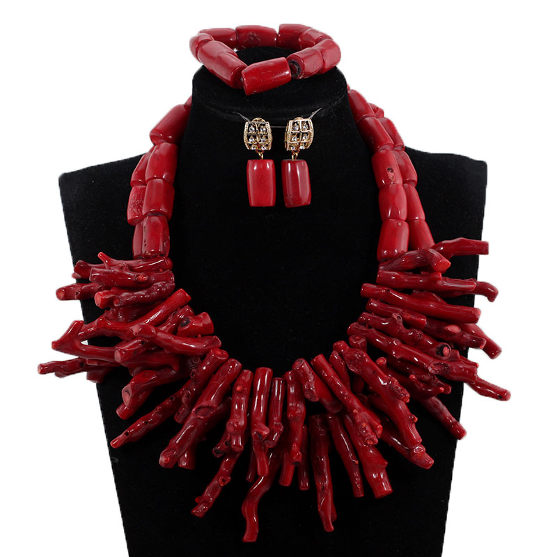 HTB1GR0plDnI8KJjy0Ffq6AdoVXaF African Nigerian Wedding Coral Beads Jewelry Set Green Chunky Beads Statement Necklace Set Baroque Style CNR035