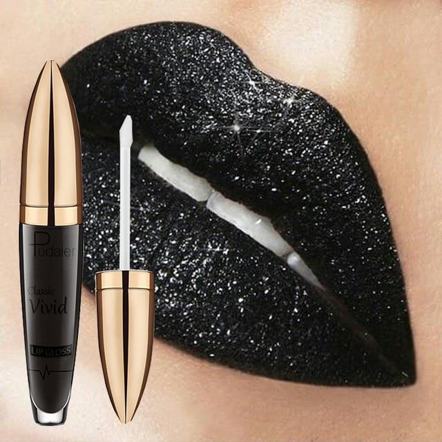 Pudaier marca brillo labial Color cosmético pigmento impermeable azul negro brillo líquido lápiz labial Kit de maquillaje
