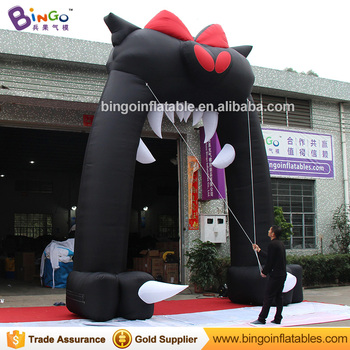 Personalizado Halloween 5X6 metros inflable cabeza de gato negro arco decorativo soplado halloween réplicas para juguetes de exhibición