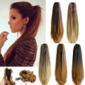 """20"""" Fashion Ombre Long Straight Claw On Ponytail Synthetic Hair Pony Tail Hair Extensions Tress Of False Hair Free Ship B40"""