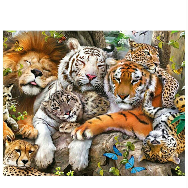 animals 5d diy diamond painting mosaic beads cross stitch needlework diamond embroidery wild tiger and lions wall decor picture