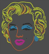 DIY Marilyn Monroe Hot Fix Motif Rhinestone Iron on Patches Applique Transfer iron transfers motif hot fix rhinestone