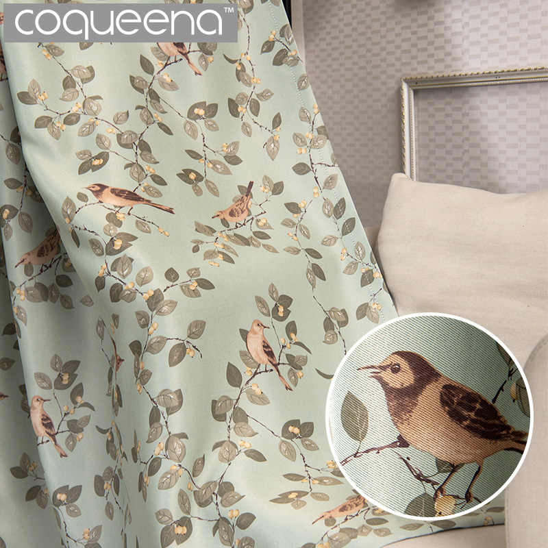 Decorative Birds Curtains for Living Room Bedroom Kitchen Door Window Curtains Panel Drapes American Rustic Style Green