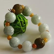100% Natural Jadeite Jade Bracelet 2017 New Cute Handmade Carved Round Beads Womens Gift Bracelets Jades Jewelry Free Shipping