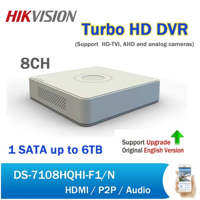 US $121 0 |Original English Hikvision DS 7108HGHI F1/N 8CH XVR Turbo HD DVR  for Security CCTV System support TVI AHD CVBS Video input-in Surveillance
