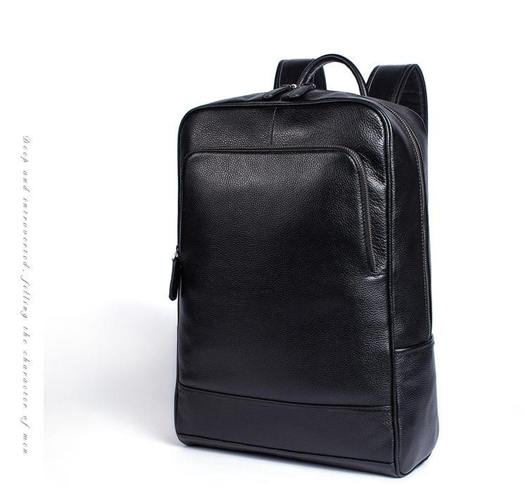 Hommes en cuir véritable sac à dos sac à dos pour ordinateur portable grande capacité sacs d'école pour adolescents mode décontracté sac de voyage Mochila noir - 6