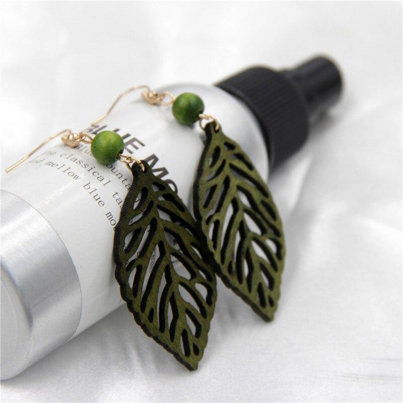 Для женщин Винтаж натурального дерева Серьги выдалбливают дерева лист Висячие серьги простой деревянной Серьги коричневый зеленый цвет ру...