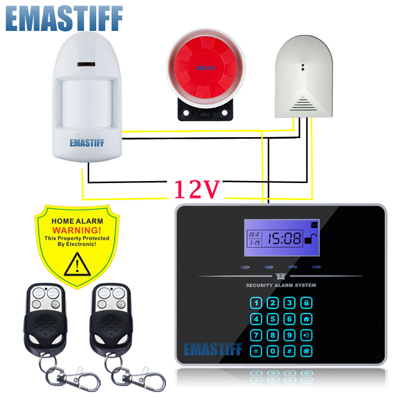 Wholesale GSM PSTN Dual Network Home Voice Security Glass Break Detector Alarm Quad Band 433Mhz with Russian Manual Alarm system smallest sim800l quad band network mini gprs gsm breakout module