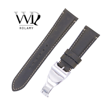 Rolamy 22mm Wholesale Durable Genuine Leather Wrist Watchband Strap Belt Loops Band Bracelets For IWC Tudor Breitling