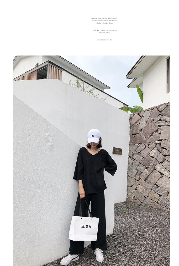 Knitting Female Sweater Pantsuit For Women Two Piece Set Knitted Pullover V-neck Long Sleeve Bandage Top Wide Leg Pants  Suit 32