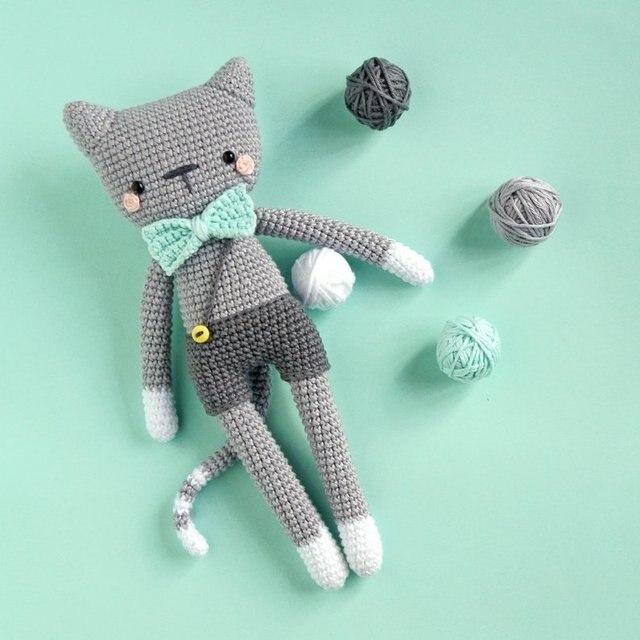 Gehaakte speelgoed amigurumi kat rammelaars pop nummer WS0108