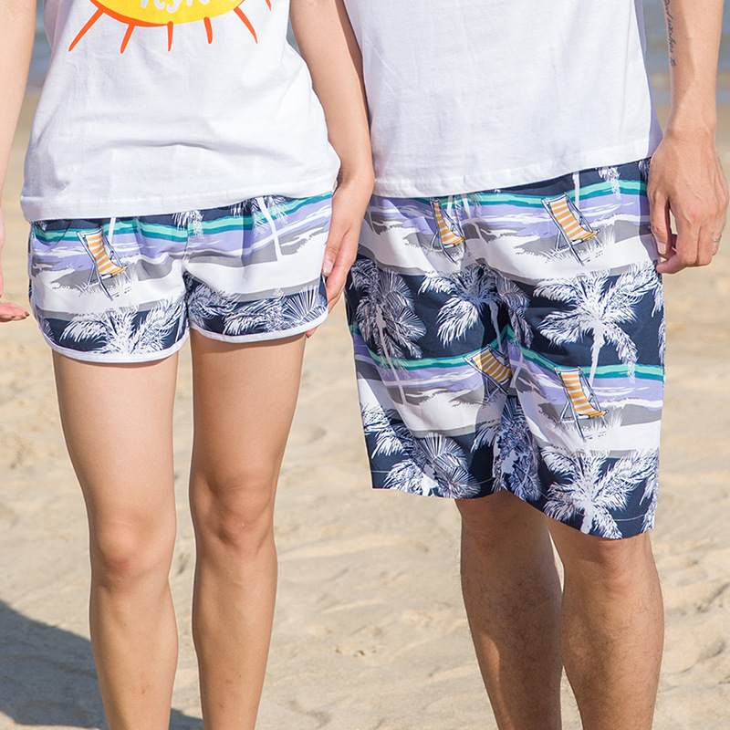 Beach shorts Men and women 2018 Hot Quick drying pants Polyester Blue Palm tree pattern surfing shorts Clothing Shorts Outwear