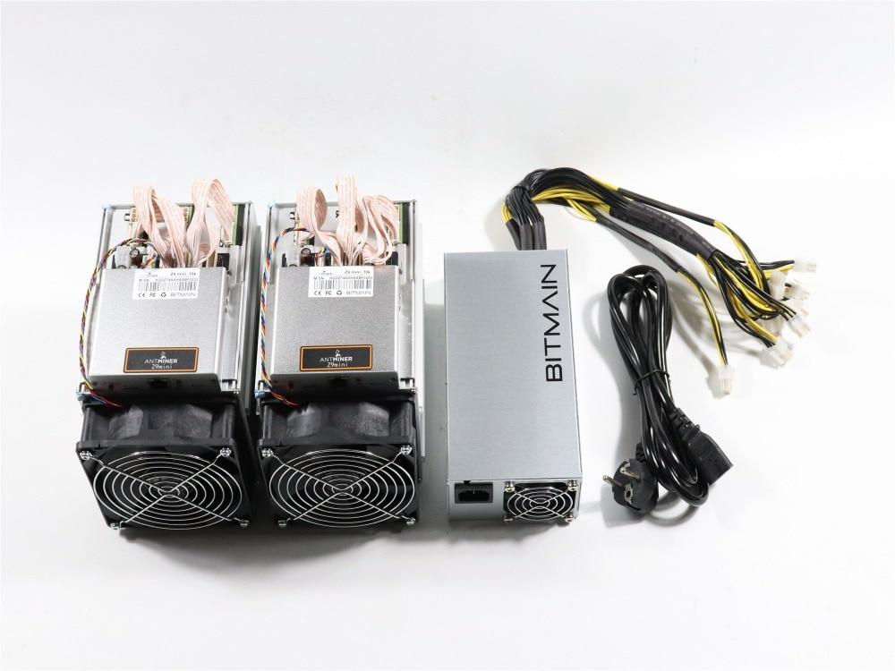 2pcs New Antminer Z9 Mini 10k Sol/s 300W With 1pc BITMAIN APW3 1600W PSU Asic Equihash Miner Mine ZEN ZEC BTG