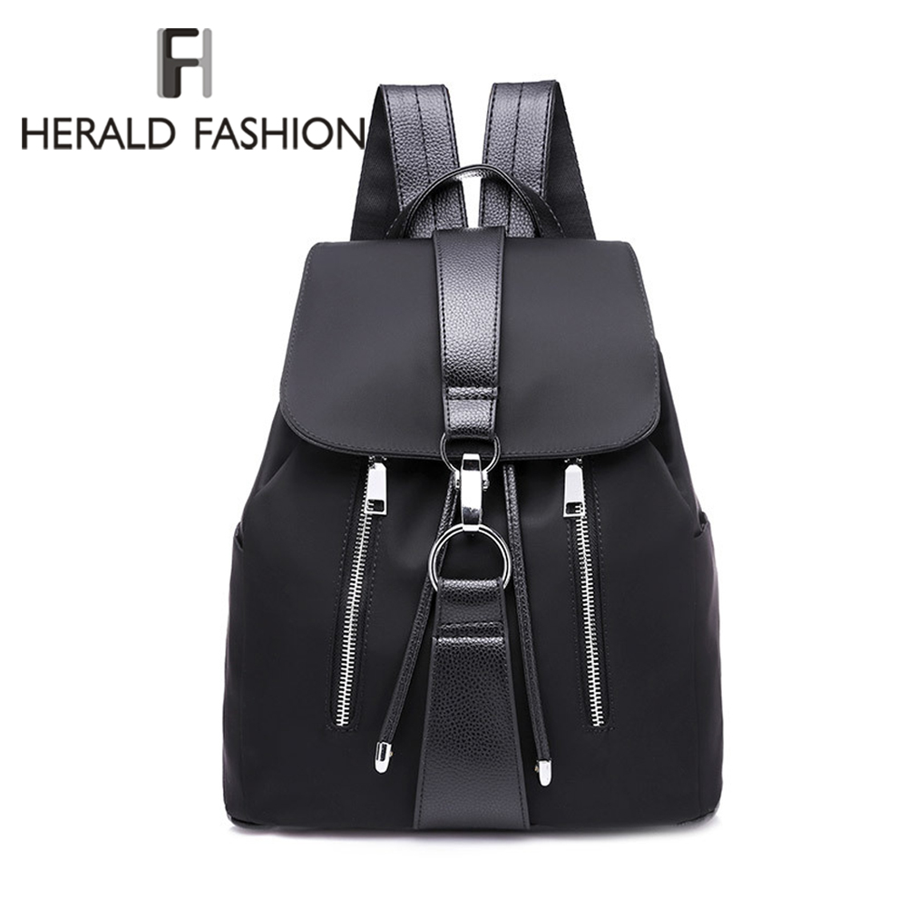 Herald Fashion Women Backpack Designer High Quality Nylon Women Bag Fashion School Bags Large Capacity Backpacks