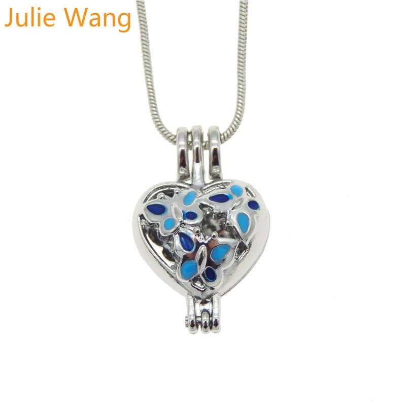 julie wang alloy enamel butterfly pattern heart shape pendant pearl beads cage essential oil
