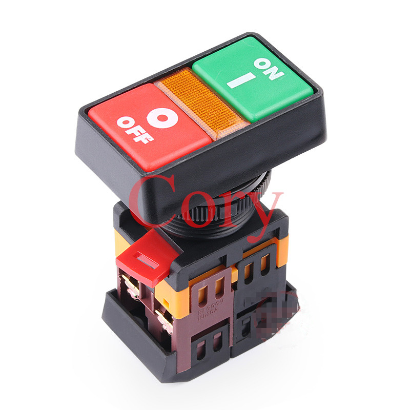 1PCS ON OFF START STOP Push Button w Light Indicator Momentary Switch Red Green Power pb 2 ac 250v 3a on off momentary push button switch box