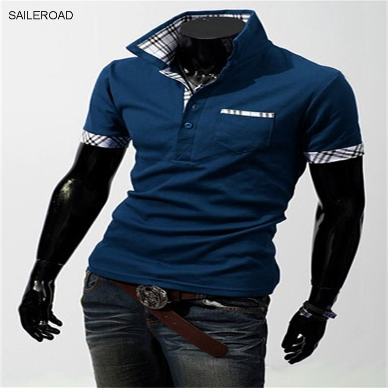 Vska Mens Short Sleeve Stand Collar Fit Patchwork Plus Size Top Polo Shirt