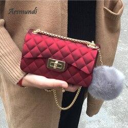 Saco de geléia fosco 2018 moda pequena feminina sacos de embreagem designer lingge corrente crossbody senhora sacos doces cor feminina bolsa de ombro