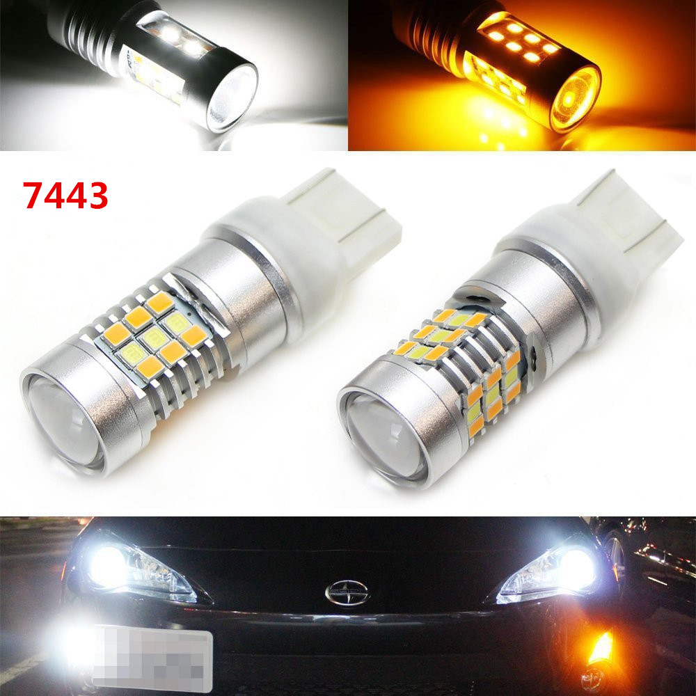 High Power White/Amber Dual Color 1157 3157 7443 7444 Switchback LED Bulbs For Front Turn Signal Lights,By SAMSUNG SMD Chips LED
