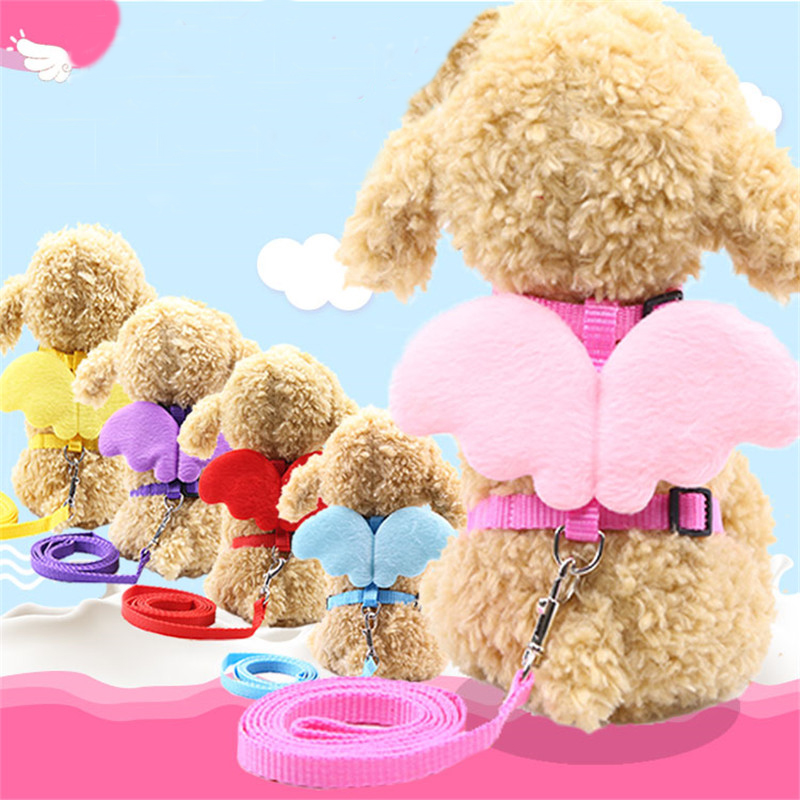 1Pc Adjustable Pet Puppy Vest Dog Leash angel Chest Strap Leash Har nesses For Dogs Cats 5 Colors Suitable Small medium dog S L