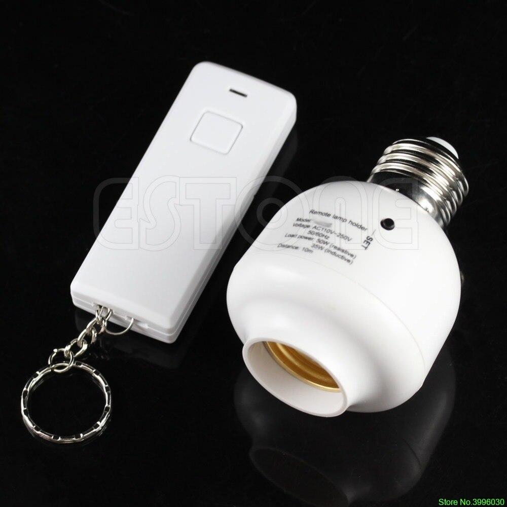 10M Wireless Remote Control E27 Screw Light Lamp Bulb Holder Cap Socket Switch e27 wireless remote control switch light bulb socket white ac 110 220v