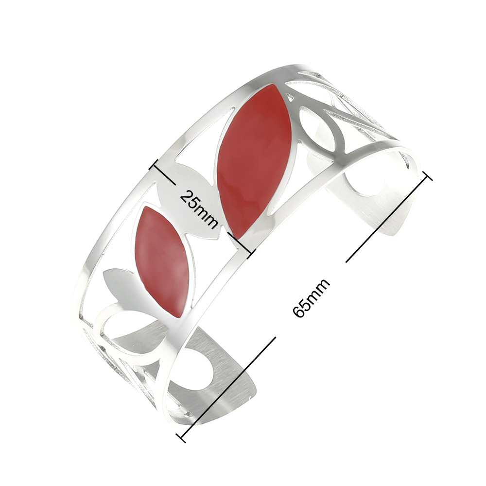 Cremo Leaf Stainless Steel Bracelets Enamel Argent Reversible Interchangeable Leather Manchette Cuff Bangles Metal Pulseras in Bangles from Jewelry Accessories