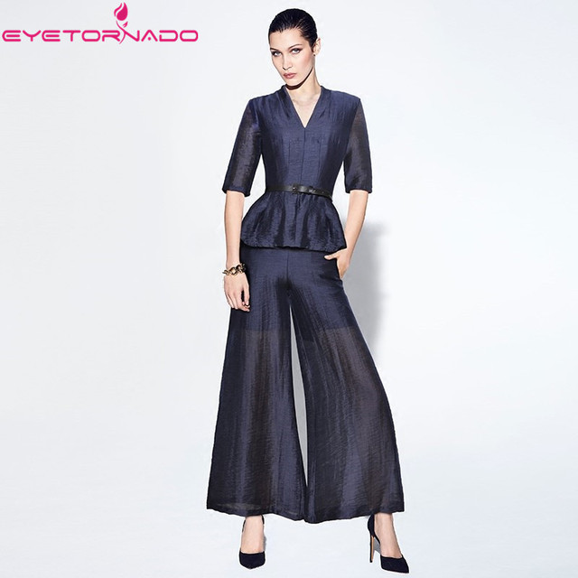 Short sleeve V neck belted shirt top + women long wide leg pant suit blue casual work V neck suits OL outfit two pieces set
