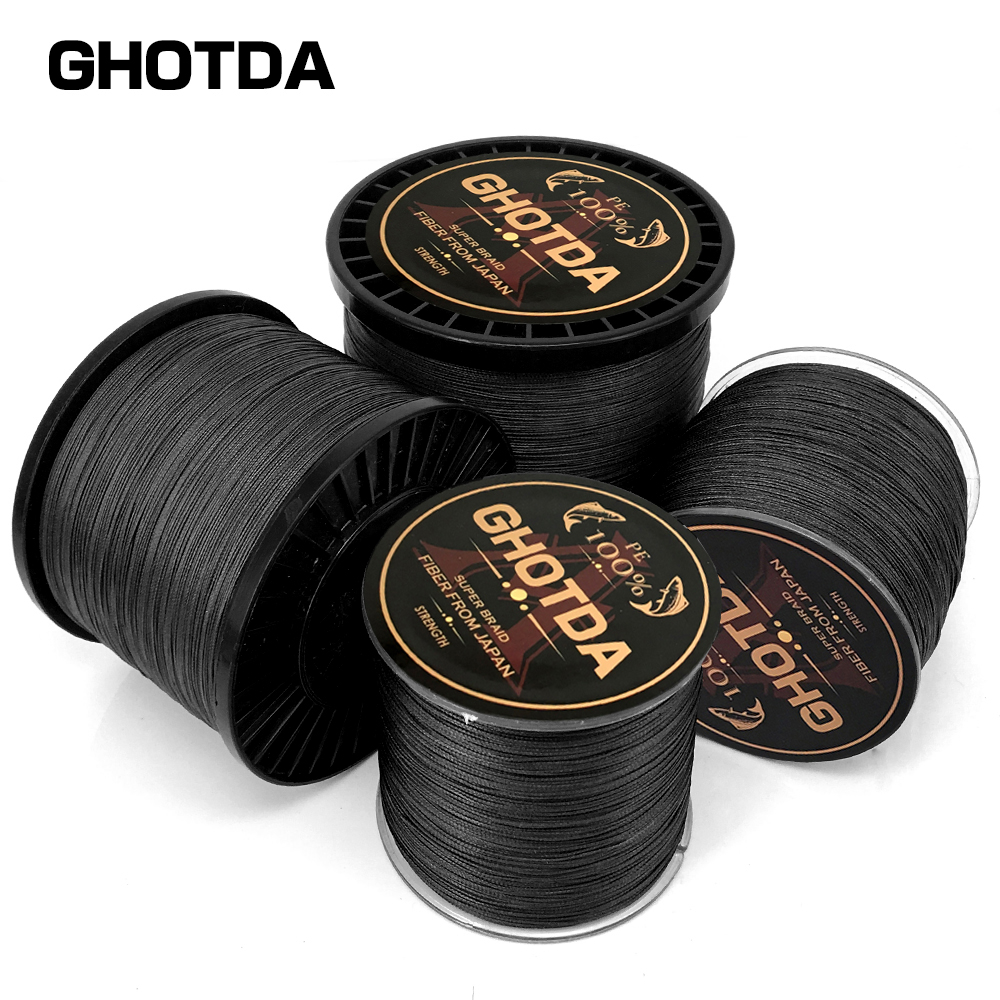 GHOTDA Braided Fishing Line Sea Saltwater Fishing 8 Strands Black 100M 150M 300M 500M 1000M 100% PE Super Strong Cord new gevlochten draad braided fishing line wire 8 strands 1000m pe 100
