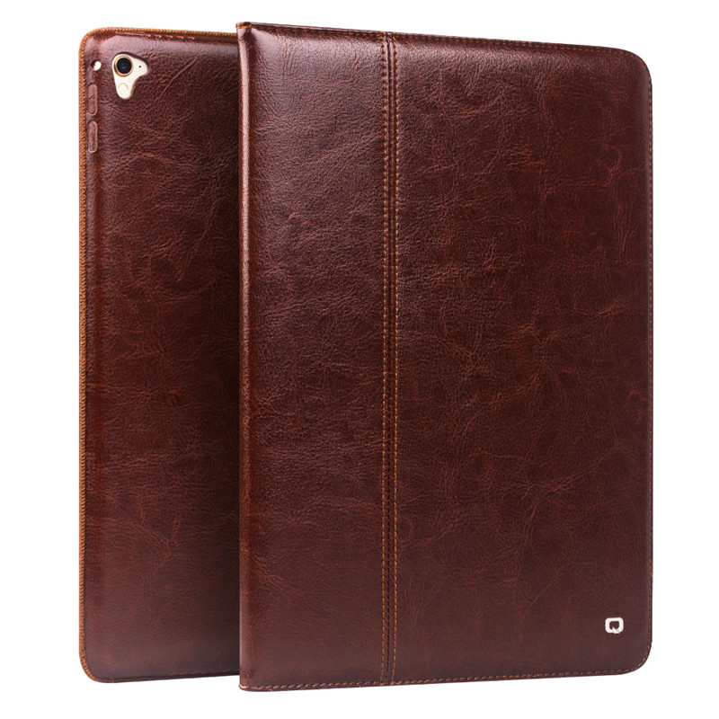 QIALINO Genuine Leather Flip Stents Case for iPad Pro 9.7 Bag Ultrathin Dormancy Stand Cover Card Slot Case for iPad Pro 9.7 for ipad pro 10 5 2017 tablet case genuine leather flip stents dormancy stand cover for funda wallet cases qialino