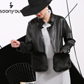 [soonyour] 2017 new winter  leather collar leather simulation Paper PU  motorcycle  fur  women  jacket black  PWH0211XS