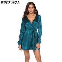 WPCZQVZA 2019 Fashion Women Dress Spring Long Sleeve Satin Sexy Slim Woman Simple Comfortable V-neck Dresses vestidos