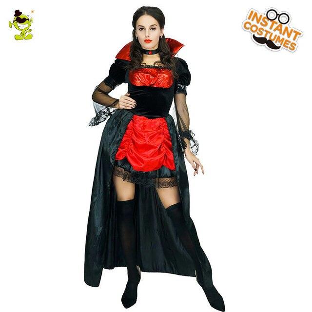 S  adulto Deluxe Costumi da Vampiro Strega Vestito Regina Cosplay Contessa  Vestito Per travestimento di 6ff475b88b87