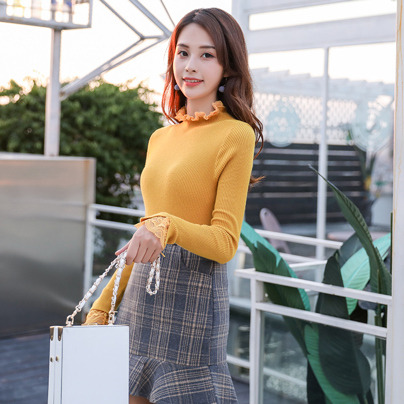 Completa De Camisas Para Camisa Tejidas Alto 2018 3270 Mujer Otoño Párrafo Manga Ajustado Conjunto Blusa Cuello Nuevas Medio Breve Blanca EwA1wnq8