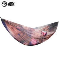 Custom Made Outdoor Printing Parachute Hammocks Camping Rede Hanging Sleeping Bed Garden Swing Furniture 2 Person